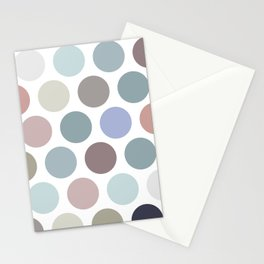 Polka dot pattern. Pastel color dot on white background Stationery Cards