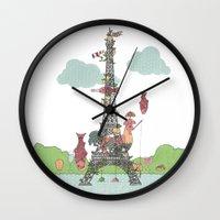 eiffel tower Wall Clocks featuring Eiffel Tower by ShangheeShin
