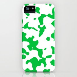Large Spots - White and Dark Pastel Green iPhone Case