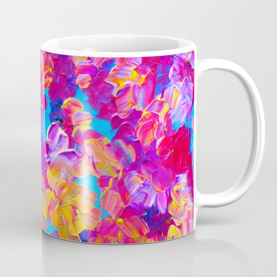 FLORAL FANTASY Bold Abstract Flowers Acrylic Textural Painting Neon Pink Turquoise Feminine Art Mug