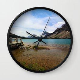 Bow Lake & Mountains Wall Clock