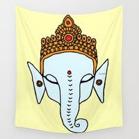 ganesha Wall Tapestries featuring Ganesha by RaJess