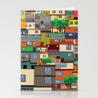 rio de janeiro Stationery Cards featuring Favela, Rio de Janeiro by Rceeh