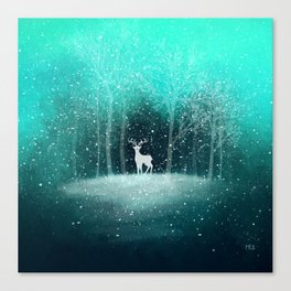 Deer in the Dark Forest Canvas Print