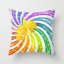 Exotic Flower on Rainbow Glitter Spiral Throw Pillow