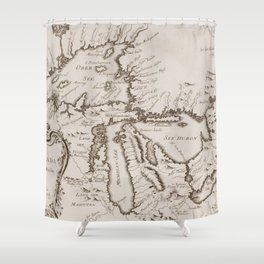 Vintage Map of The Great Lakes (1757) Shower Curtain