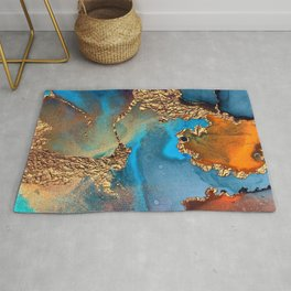 Luxurious Abstract Glitter Gold and Blue Paint Texture Rug
