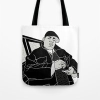 notorious big Tote Bags featuring Notorious by madebytraceyleigh