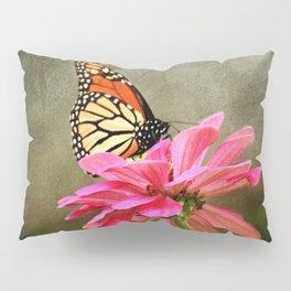 Monarch Butterfly and Pink Zinnia Pillow Sham