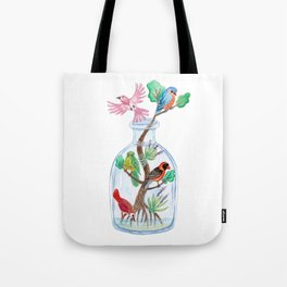 Birds in a Bottle Watercolor Painting Tote Bag