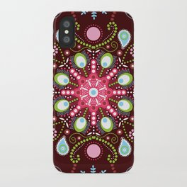 Pointillism mandala | Brown, red and green iPhone Case