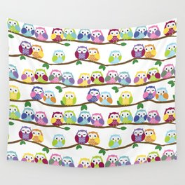 Colorful Owls On Branches Wall Tapestry