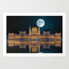 Moonlight Budapest in Hungary Art Print