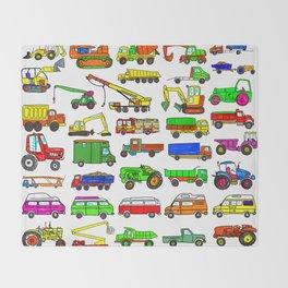 Doodle Trucks Vans and Vehicles Throw Blanket