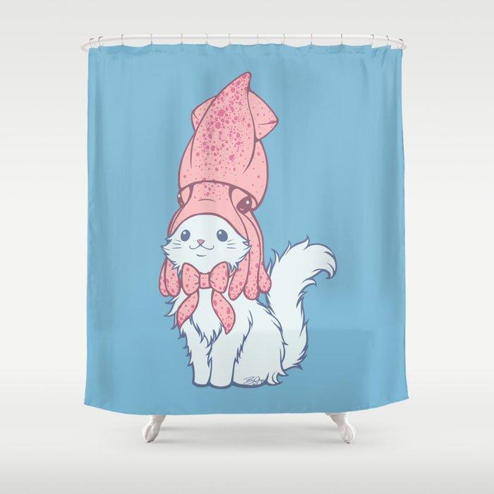 White Cat Wears Squid Hat Shower Curtain