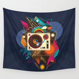Goodtime Party Music Retro Rainbow Turntable Graphic Wall Tapestry