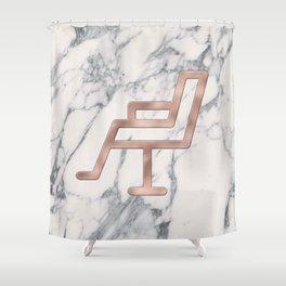 Rose Gold Salon Chair on Marble Background - Salon Decor Shower Curtain