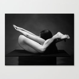 7487-MAK Flexible Nude Woman Erotic Black & White Naked Girl on Platform Canvas Print