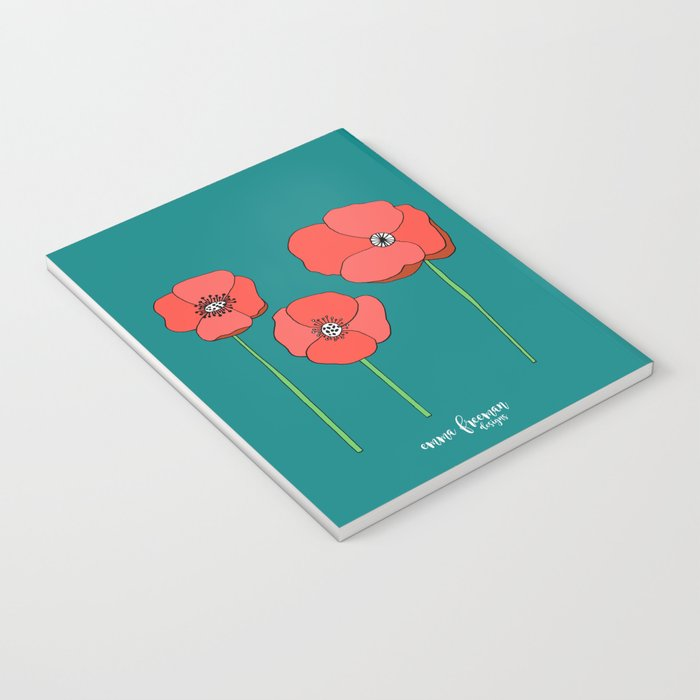 Poppies by Emma Freeman Notebook