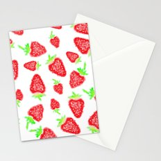 Summer bright red hand painted watercolor strawberries fruits pattern Stationery Cards