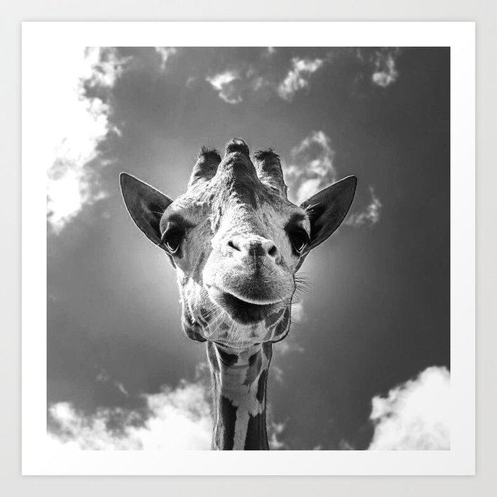 Cool Giraffe Black and White Art Print by mehrfarbeimleben ...Cool Giraffe Drawings