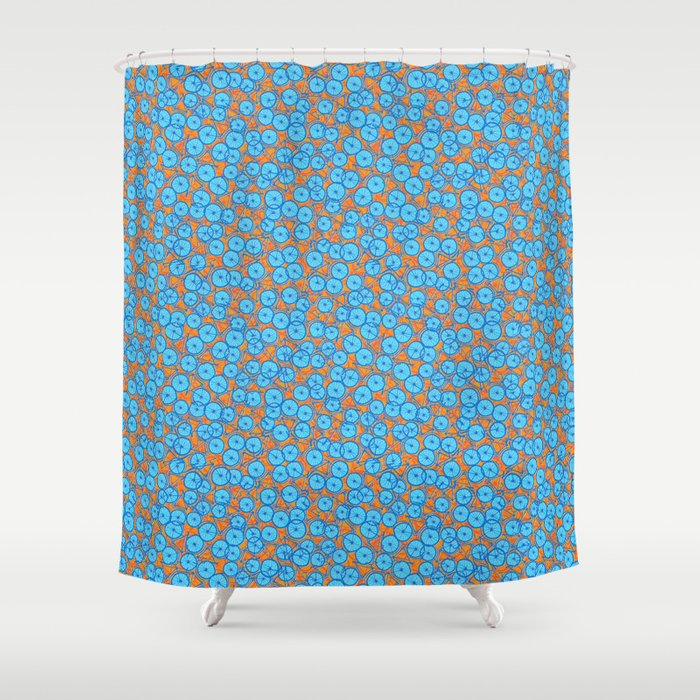 Summer Cycle Orange Blue Shower Curtain By Alexmorgan