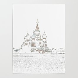 Saint Basil's Cathedral (on white) Poster