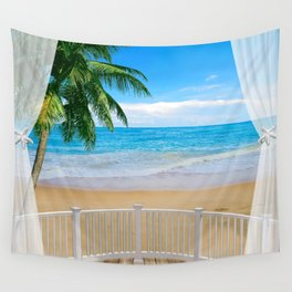 Balcony with a Beach Ocean View Wall Tapestry