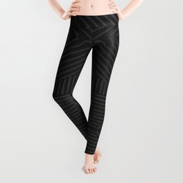 Charcoal grey line work on textured cloth - abstract geometric pattern Leggings