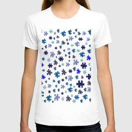 Jigsaw pieces of bluish colors. T-shirt
