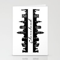 cleveland Stationery Cards featuring Cleveland Skyline by Madison Asher