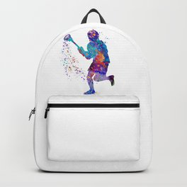 Lacrosse Boy Colorful Watercolor Art Sports Gift Backpack