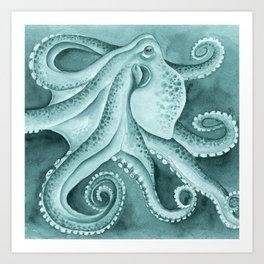 Cyan Green Octopus Tentacles Ink Watercolor Art Print