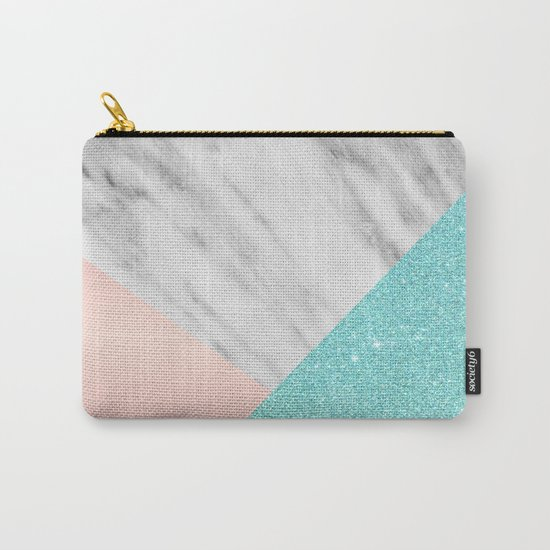 Real Italian Marble with Pink and Blue Carry-All Pouch
