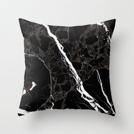 Abstract black white gray modern marble Throw Pillow