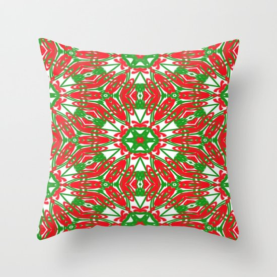 Red, Green and White Kaleidoscope 3376 Throw Pillow