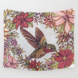 Hummingbird In Flowery Garden Wreath Wall Tapestry