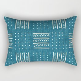 Mud Cloth Patchwork in Teal Rectangular Pillow