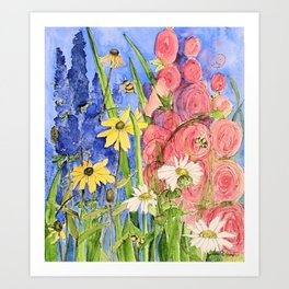 Cottage Garden Delphinium and Hollyhocks Watercolor Art Print