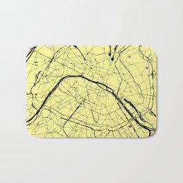 Paris France Minimal Street Map - Yellow on Black Bath Mat