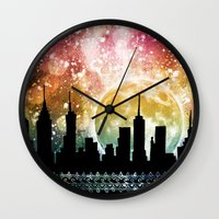 moonrise Wall Clocks featuring Moonrise by Jenndalyn