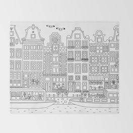 Amsterdam Line Art Throw Blanket