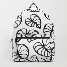 Tropical Leaves on White Backpack
