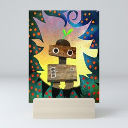 Robot in the Forest Mini Art Print