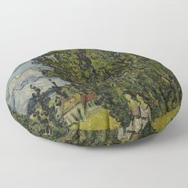 Cypresses and Two Women Floor Pillow