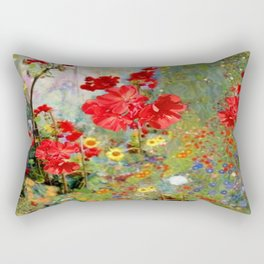 Red Geraniums in Spring Garden Landscape Painting Rectangular Pillow