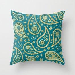 Paisley Funky Design Gold & Teal Throw Pillow