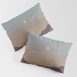 Sunset Moon Ridge // Grainy Red Mountain Range Desert Landscape Photography Yellow Fullmoon Blue Sky Pillow Sham