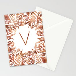 Letter V - Faux Rose Gold Glitter Flowers Stationery Cards