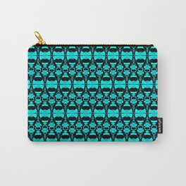 Abstract Pattern Dividers 02 in Turquoise Black Carry-All Pouch